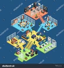 flat isometric office center floors interior stock vector