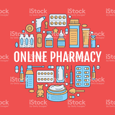 medical drugstore poster template vector medicament line icons