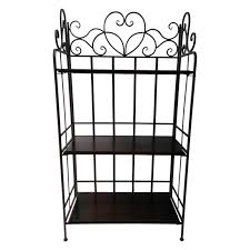Bakers Rack Shelves 3 Tier Heart Scroll Metal And Wood Bakers Rack At Home At Home