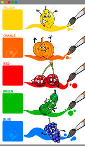 funny colors cartoon illustration of primary colors with funny fruits