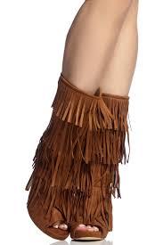 tan faux suede fringe peep toe heels cicihot heel shoes online