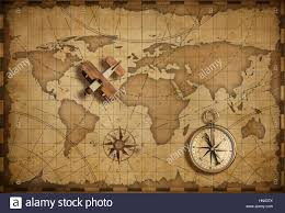 Usa Map With Compass by Antique Brass Compass Over Old Usa Map Stock Photo Royalty Free