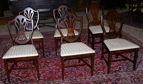 set of six mahogany shield back dining room chairs