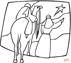 kings on the camel are pointing at christmas star coloring page