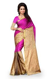 Pink Colour by Buy See More Self Design Cotton Pink Colour Banarasi Saree With