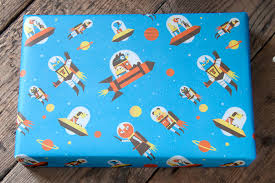 space wrapping paper nobrow press flying astro cat wrap 5 sheets