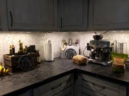 white groutless pearl shell tile gourmet kitchen backsplash