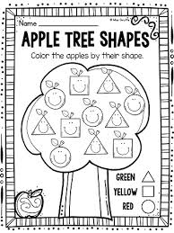 apple tree adorable color by shape worksheets that students will