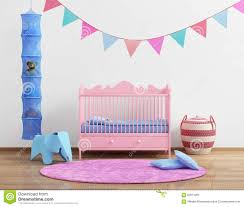 Pink Rug For Nursery Baby U0027s Pink Nursery Room With Flags And Rug Stock Photo Image