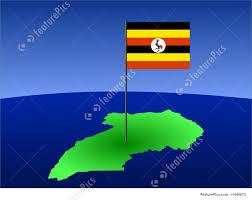 Images Of Uganda Flag Map Of Uganda With Flag Stock Illustration I1440073 At Featurepics