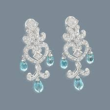 diamond chandelier earrings 14k diamond chandelier earrings blue topaz 0 55ct