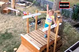 dad builds 5 year old daughter a backyard american ninja warrior