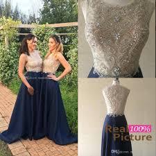 real photos 2016 gold and blue bridesmaid dresses navy blue sheer