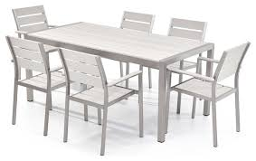 White Modern Outdoor Furniture by Vittore 7 Piece Outdoor Aluminum And Polywood Dining Set White