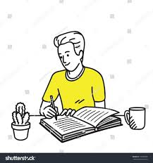 happy smiling writing diary stock vector 710683828