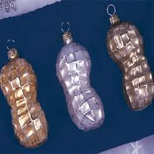 seasonal christopher radko peanut ornaments 3 pc set gold