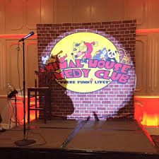portable comedy club backdrop for comedy club in a banquet room