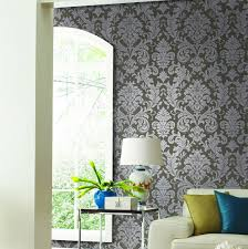 europe style eco friendly silver grey floral damask wallpaper