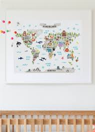 Animal World Map nursery printable animal world map kids world map poster