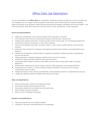 Stock Clerk Job Description For Resume by Office Clerk Job Description For Resume Free Resume Example And
