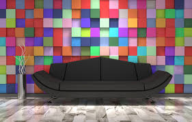 black sofa with colorful wall background hd picture backgrounds