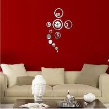 silver round bedroom office home decoration diy mirror glass wall home garden cor wall stickers