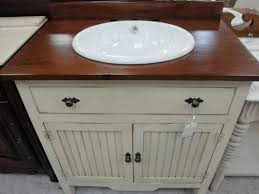 Weathered Gray Vanity With Side Shelf Round Bathroom Mirror And - Solid wood bathroom vanity top