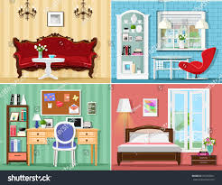 stylish graphic rooms set living room stock vector 477493921