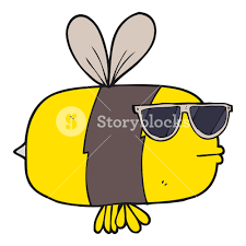 freehand drawn cartoon bee wearing sunglasses royalty free stock