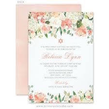 bas mitzvah invitations pastel watercolor flowers bat mitzvah invitations print creek