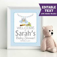 baby shower welcome sign blue owl welcome party sign editable printable baby shower baby