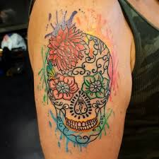 watercolor sugar skull tattoo designs ideas and meaning tattoos