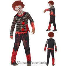 age 8 16 boys krazed jester costume mask halloween fancy dress childs scary clown party suit halloween second skin fancy dress