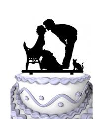 cat wedding cake topper meijiafei and groom sit in the chair with cat wedding cake