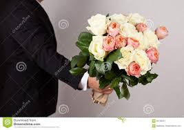 Nice Flowers Man With Big Beautiful Bouquet Of Nice Flowers Stock Photo