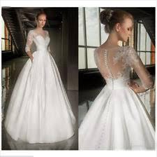 lace 3 4 sleeve wedding dress lace 3 4 sleeve boat neck wedding dresses ebay