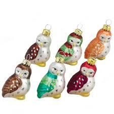 A Christmas Carol Ornaments Amazon Com Kurt Adler 1 96 Inch Glass Owl Ornaments 6 Piece Set