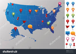Usa Map State by Usa Map Gps Icons Every State Stock Vector 69596614 Shutterstock