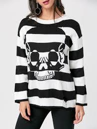 skull sweater striped skull sweater in black stripe 2xl sammydress com