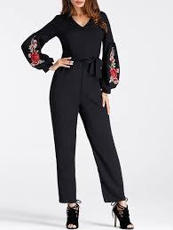 s sleeve jumpsuit v neck embroidered puff sleeve jumpsuit in black s sammydress com