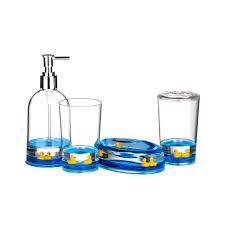 Pc Bathroom Accessories Set Floating Ducks Design Acrylic Finish - Bathroom accessories design