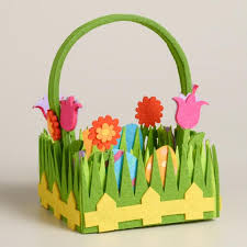 easter basket grass small flower and grass felt easter basket world market