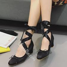 ribbon heels shoespie sweet knot ribbon lace up chunky heel ballet pumps