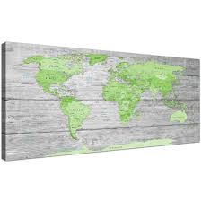 World Map Art Print large lime green grey world map atlas canvas wall art print
