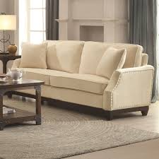 Nail Trim For Upholstery Acklin Beige Sofa With Silver Nail Head Trim