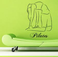 Sports Wall Decals For Nursery by Sport Wall Decals Woman Stretching Pilates Wording Yoga Gym Vinyl