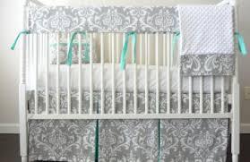 Damask Crib Bedding Sets Gray And Aqua Crib Bedding Bed Linen Gallery