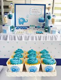 Centerpieces For Boy Baptism by Cute Blue Elephant Dessert Table Boys Christening Christening