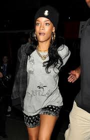 rihanna hoop earrings rihanna out late in london zimbio