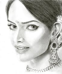 deepika padukone beautiful indian look sketch painting still